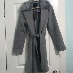 Brand new grey knee-length coat